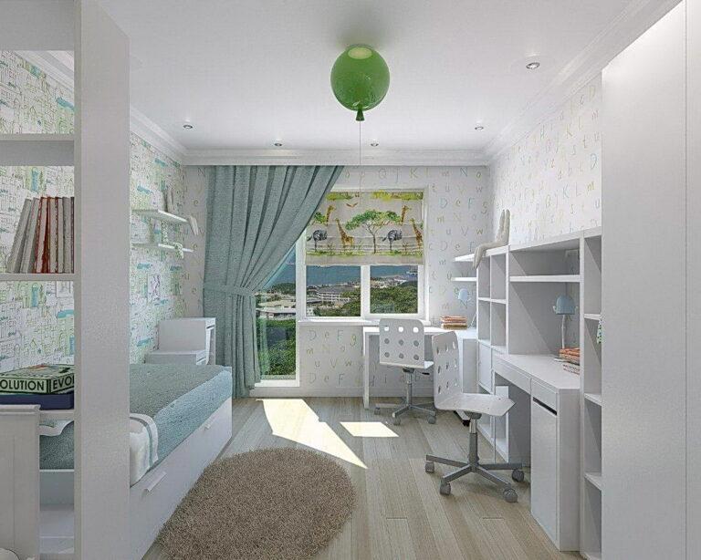 сатиновый натяжной потолок с нишей скрытого карниза и подсветкой в детскую