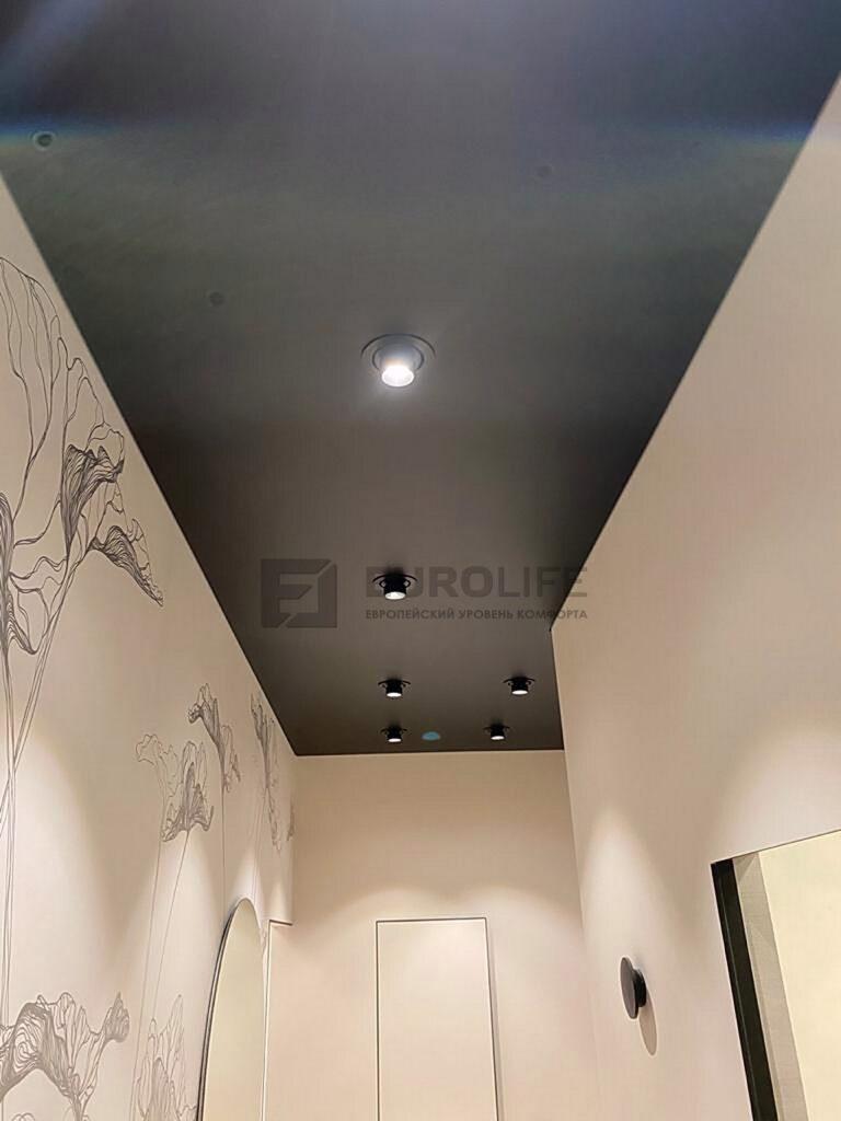 Черный матовый потолок в прихожей с черными светильниками