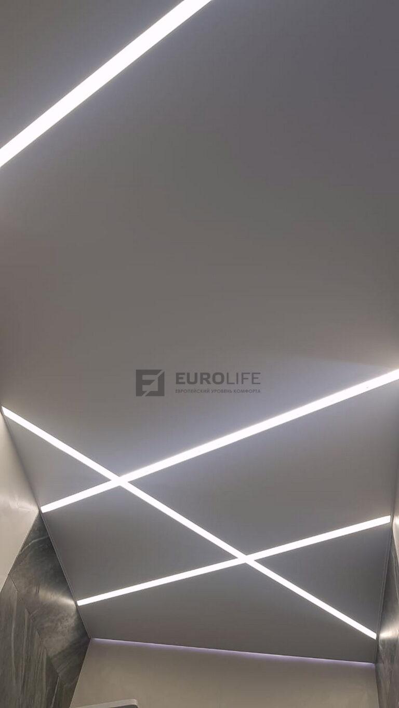 Сочетание декоративной подсветки стены и световых линий на потолке