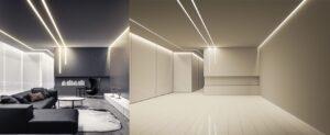 световые линии как способ избежать шва на полотне в помещениях шире 5 метров