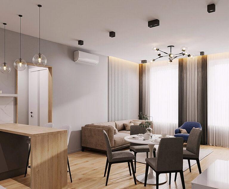 белый тканевый потолок на кухне гостиной с подсвеченной декоративной нишей и скрытым карнизом