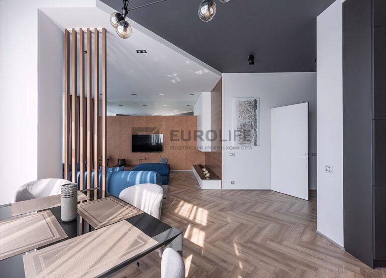 серо белый двухуровневый потолок в квартире пример зонирования с помощью разных уровней потолка