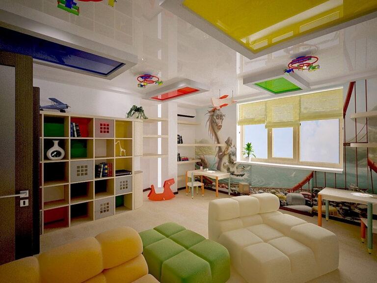 белый глянцевый потолок с коробами с цветными лаковыми вставками в детской