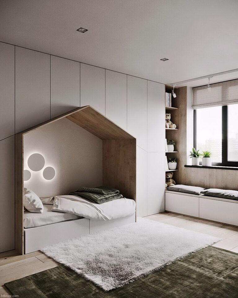 белый матовый потолок с трековым светильником в детской