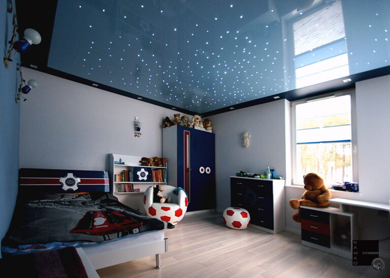 глянцевый цветной потолок звездное небо в гкл коробе в детской