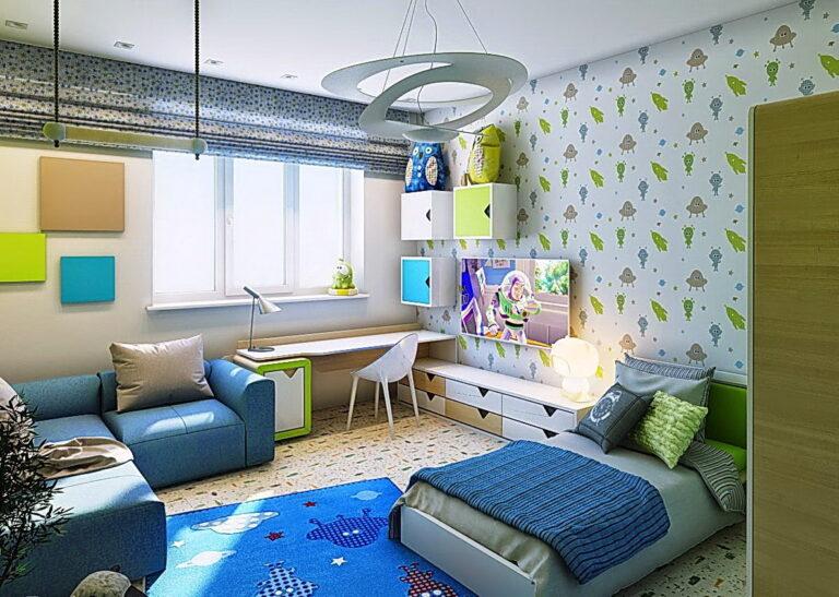 матовый натяжной потолок в детскую (люстра для общего света, точечные светильники над рабочей зоной и зоной отдыха)