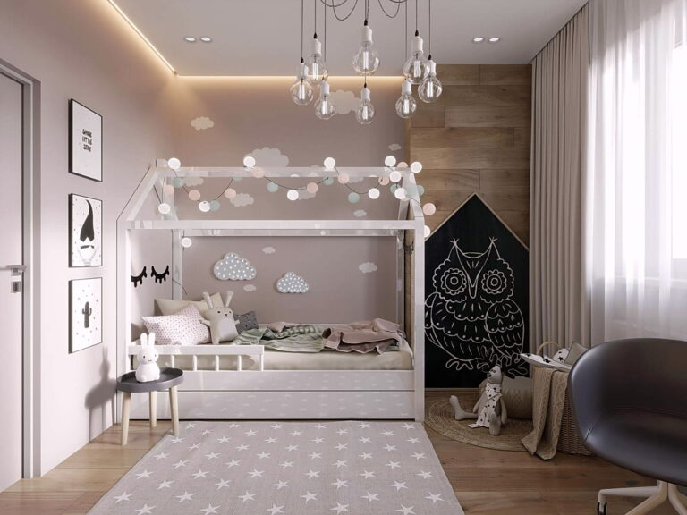 совмещение контурной и парящей подсветки в потолке со скрытым карнизом в детской
