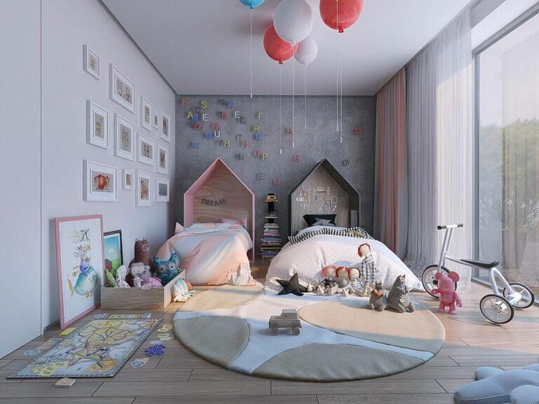 светлый парящий потолок со скрытым карнизом в детской